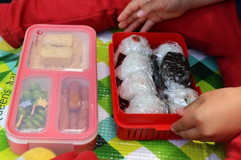 室生山上公園芸術の森で弁当を食べる